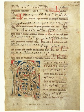 'Laudate Dominum', leaf from a choirbook, Germany, about 1250. Museum no. 244.2