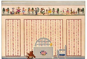Page from 'Décor', a pattern book illustrating wallpapers in domestic interiors, about 1928. Museum no. E.2021:42-1990