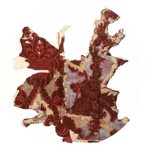 Portion of two flock wallpapers, one pasted over the other, about 1760-70. Museum no. E.596A, 596B-1985