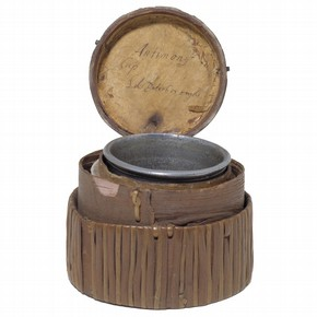 Antimony cup inside an inner leather box and an outer straw box, by The Antimony Cup Ltd, Peterborough, England, about 1720. Museum no. 1370A-1900