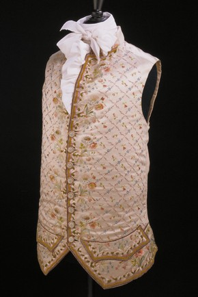 Cream satin waistcoat embroidered with coloured silk, Gloucester, England, UK, 1770. Museum no. 652A-1898