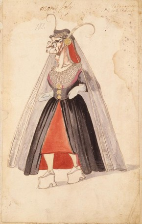 Ballet costume design for The Old Dowager in La Douairère de Dillebahaut, watercolour drawing with handwritten annotation, France, 1626
