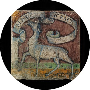 Floor tile, Antonio dei Fedeli, tin-glazed earthenware, painted, Pesaro, 1492-1494, given by J.H. Fitzhenry, Esq.