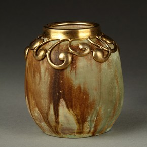 A stoneware jar by Alexandre Bigot with silver-gilt mount. Purchased from Maison Bing, Paris, 1900.