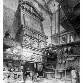 Lithograph of a view of the monumental fireplace in the hall of a house at Treguier, Brittany, by E. Cicri after A. Guesdon, 1833. Supplied by Muse de Morlaix.
