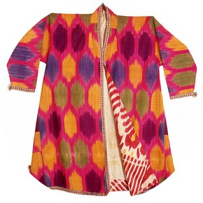 Man's robe with large spots on a bright pink background, Bukhara, Uzbekistan