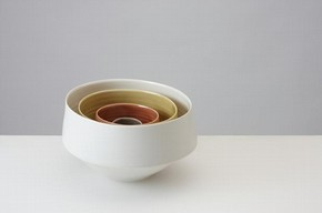 """Ven"" Set of Four Nesting Bowls, 2011, Thrown and assembled Porcelain, 19cms Ø x 18cms H"