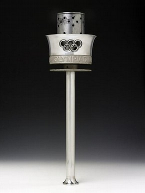 Olympic Torch, Ralph Lavers, 1947, aluminium torch holder, steel burner