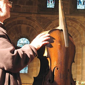 Figure 1. The Berkswell 'Cello Project, centred around a rediscovered 18th century instrument, offers many ethical, scientific, contextual and practical challenges for stringed-instrument conservator Chris Egerton (Photography by Karen Lacroix 2007)