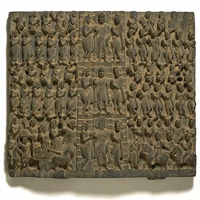 Panel showing the descent of the Buddha from Trayastrimsa Heaven, Gandhara. Museum no. IS.11-1947