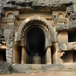 Cave entrance, Bhaja. © John Huntington