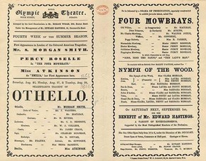 Playbill featuring Samuel Morgan in the role of 'Othello', London, 1866.