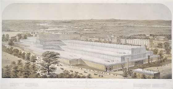 Aeronautic view of The Palace of Industry For All Nations, from Kensington Palace by Charles Burton, England, 1851 - 1852. Museum no. 19614