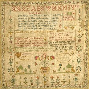 Sampler, 1803. Museum no. 942-1897 (click image for larger version)