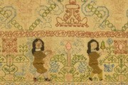 Sampler (detail), 1660. Museum no. T.182-1987. Given by Janet Harris, Susan Jones and Lynda Smith