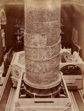 The original installation (1873) in the Cast Court of the plaster cast reproduction of  Trajan's Column around its brick core, by Monsieur Oudry, about 1864. Museum no. REPRO.1864-128, © Victoria and Albert Museum, London