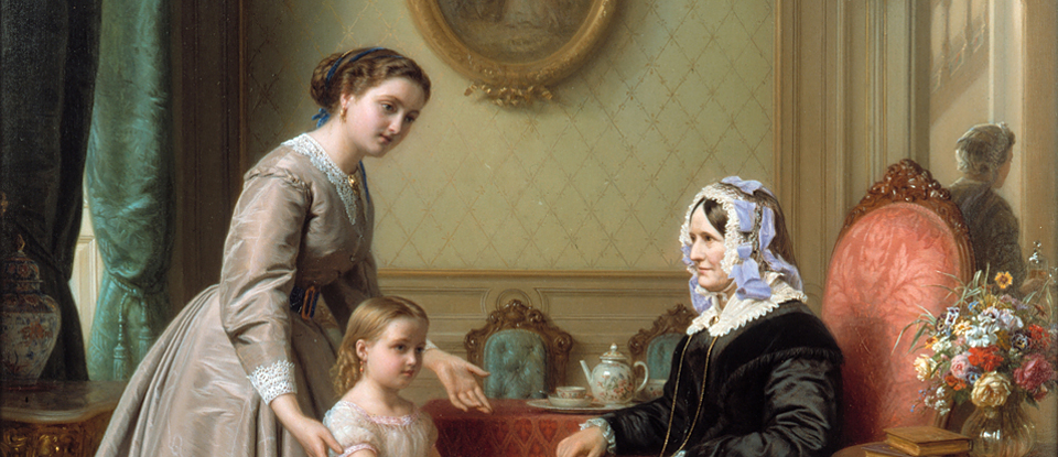 Josephus Laurentius Dyckmans, detail from 'Grandmother's Birthday; La Fête de la Grandmère', Oil painting, 1867, Museum no. 1-1871