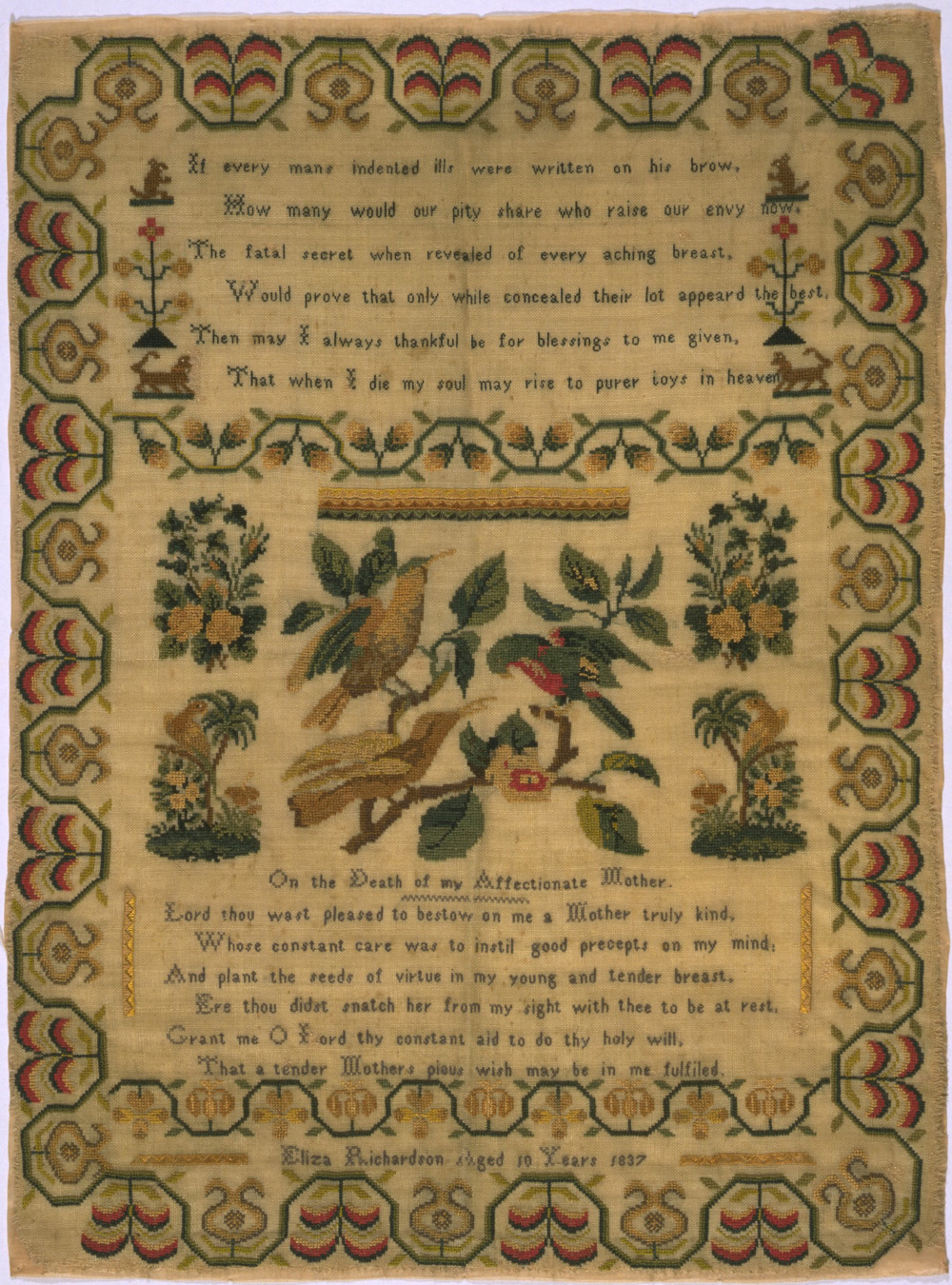 Wool sampler embroidered with silk, by Eliza Richardson, England, 1837.  Museum no. T.3-1930. Given by Mrs E. M. Baillie