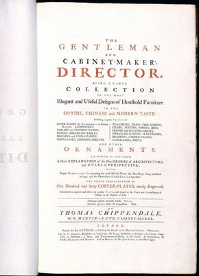 Title page of the 1754 edition of The Gentleman and Cabinet-Maker's Director. NAL no. III.RC.N.10