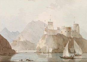 East View of The Forts Jellali &amp; Merani, Muscat, watercolour, William Daniell, 1793. Museum no. SD.296