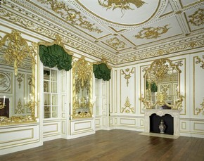 The Music Room from Norfolk House, St James's Square, London; Matthew Brettingham (architect), Giovanni Battista Borra (designer), Jean Antoine Cuenot (carver), James Lovell (chimneypiece, possibly, carver); 1748-1756. Museum no. W.70:1-1938. © Victoria & Albert Museum, London