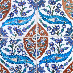 Tiles with repeat pattern, 1580. Museum no. 401-1900