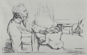 'Rodin in his studio', lithograph by Willliam Rothenstein, 1897. Museum no. E.2134-1920
