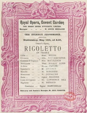 Printed front page of programme for the opera Rigoletto starring Nellie Melba and Enrico Caruso, Royal Opera House, London, 14 May 1902