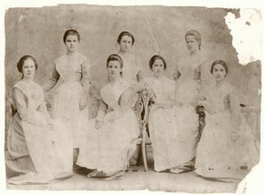 Photograph of students of the Imperial Russian Ballet School, sepia photograph, 1902
