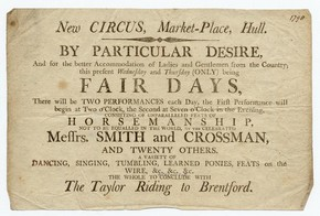 Playbill for Early Touring Circus, Kingston-upon-Hull market place, England, 1798, Museum no. S.211-1978