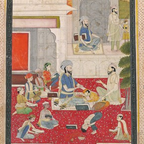 A Sikh guru with pupils, Lahore, about 1800-1810. Museum no. IS.20-1952