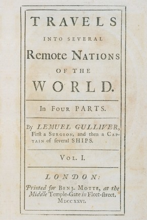 Jonathan Swift, 'Gulliver's Travels', London, 1726. Pressmark: Forster 8vo 8553. Printed for Benjamin Motte, at the Middle Temple-Gate, in Fleet Street