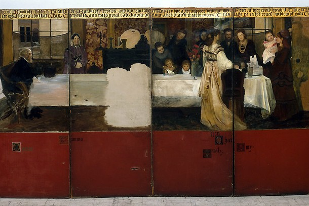 'Portrait of the Epps family' by Sir Lawrence Alma-Tadema, six-part painted screen, 1870-1871, Museum no. W.20-1981