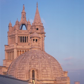 Exterior of the Victoria & Albert Museum showing a view of the south-west tower and the main tower, London, England, UK, 1986.