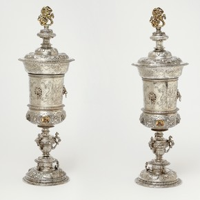 Pair of silver cups and covers, attributed to the Master of the Heart, Dorcrecht, the Netherlands, 1592. Museum no. M.25 & 26-2009