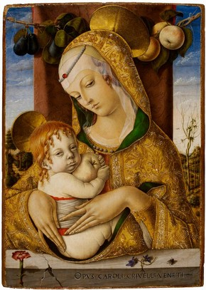 'Virgin and Child', tempera panel painting by Carlo Crivelli, possibly Venice, Italy, about 1480. Museum no. 492-1882
