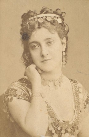Adelina Patti as Esmeralda, 19th century, sepia photograph. Museum no. S.138:357-2007