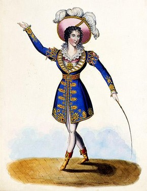 Eliza Vestris as Don Felix in The Alcaid by James Kennedy, engraving, ink on paper, published by J Cumberland, London, England, 1824, Harry Beard Collection. Museum no. S.2681-2009. © Victoria & Albert Museum, London