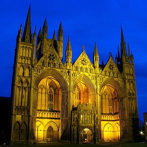 Peterborough Cathedral, re-built between 1118 and 1238. Photograph by Richard Gunn.