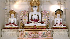 Images of Adinath, Mahavira and Parsvanatha from Jain temple at Potters Bar, Photographed by Ravin Mehta, 2006, Reproduced with permission of the Oshwal Association (UK)