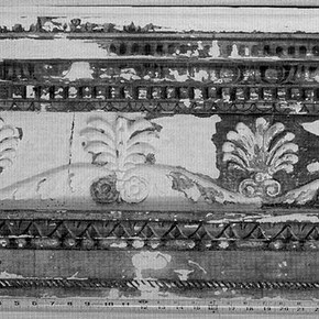 Fig. 1. Gubbio Studiolo Project. Detail of cornice after an application of calcium carbonate gesso.
