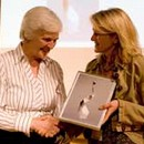 Irena Molnarfi receiving the award for 'Theatre Collections' from Emmanuelle Cirier, Project Coordinator, Inspired By 2008