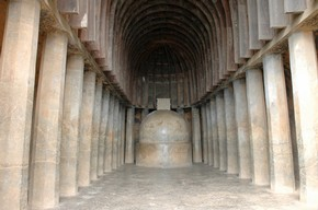 Stupa in main prayer hall, Bhaja
