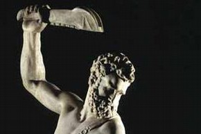 Samson and a Philistine, Giambologna, 1500-50. Museum no. A.7-1954