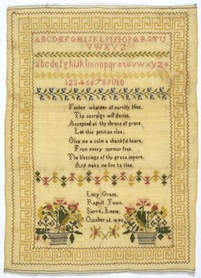 Sampler, 1840. Museum no. T.54-1934. Given by William Barratt (click image for larger version)