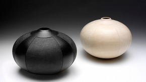 Black and White Pair of Vessels, John Jordan, 2001. Museum no. LOAN:AMERICANFRIENDS.519-2007