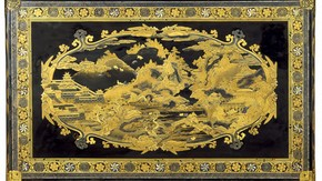 The Mazarin Chest (exterior of lid), Japan, about 1640. Museum no. 412-1882 マザラン・チェスト(蓋表)、日本製、1640年頃、館蔵番号 412-1882 (画像をクリックすると拡大します)