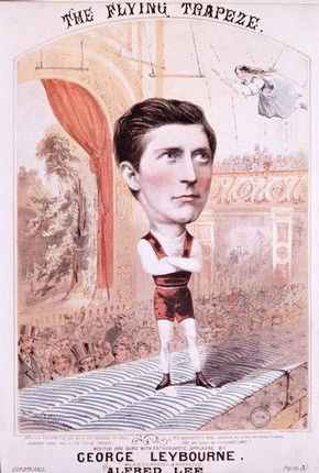 Illustrated music cover for 'The Daring Young Man on The Flying Trapeze' as sung by George Leybourne, 1842-84