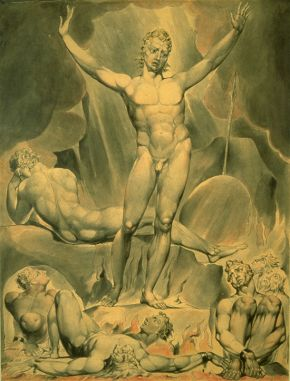 William Blake (1757-1827), Satan arousing the rebel angels, 1808, watercolour on paper. Museum no. FA 697, © Victoria and Albert Museum, London