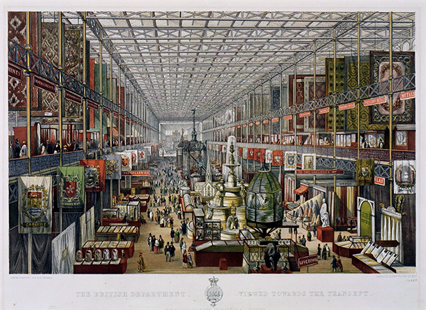 Print showing a view of the Great Exhibition, The British Department viewed towards the transept, William Simpson, printed and published in Great Britain in 1851, Ackermann & Co.